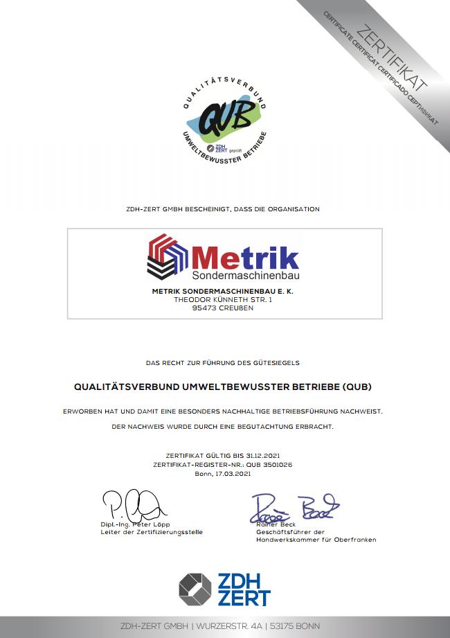 QUB Zertifikat